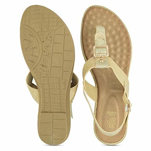 tresmode Women's Gold Fashion Sandals