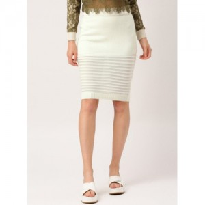 all about you Off White Self Pattern Pencil Skirt