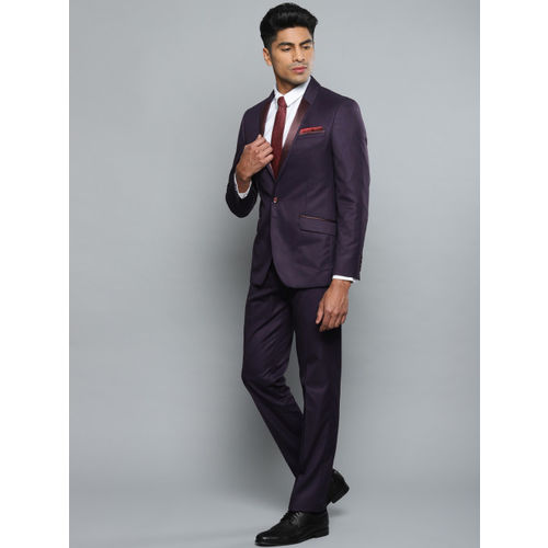 Louis Philippe Men Purple Self-Design Slim Fit Formal Tuxedo Suit
