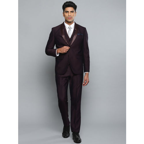 Louis Philippe Men Maroon Checked Single-Breasted Slim Fit Formal Suit