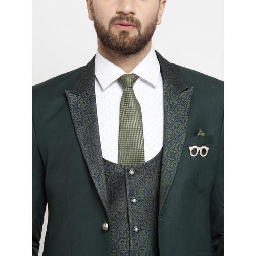 LUXURAZI Men Green Slim Fit Suit