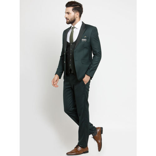 LUXURAZI Men Green Slim Fit Suit