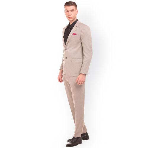 Arrow Men Khaki Notched Lapel Single Breasted Suit