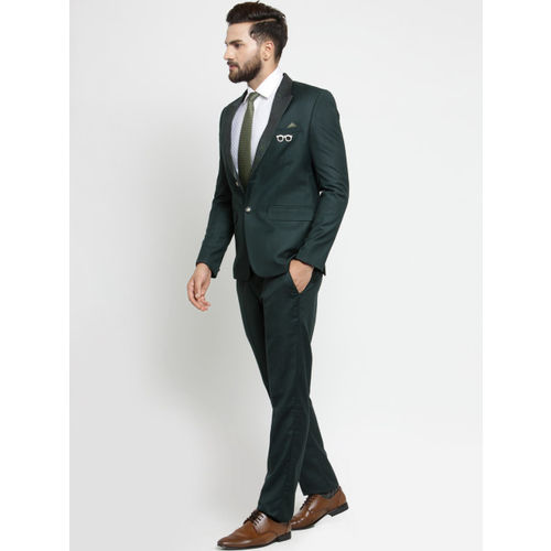 LUXURAZI Men Green Solid Slim Fit Suit