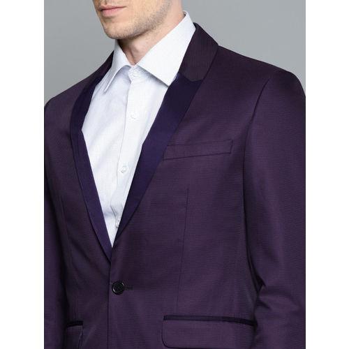 Louis Philippe Purple Self-Design Single-Breasted Milano Slim Fit Formal Suit