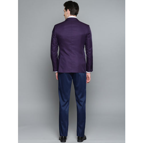 Louis Philippe Purple Self-Design Single-Breasted Milano Slim Fit Formal Suit