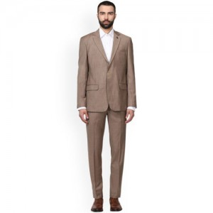 Raymond Men Khaki Solid Slim Fit Formal Suit