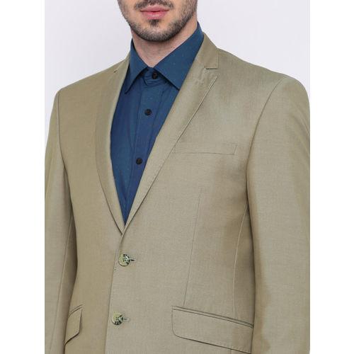 Peter England Brown Slim Fit Single-Breasted Formal Suit