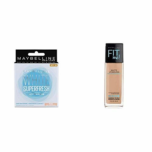 Maybelline New York White Super Fresh Compact, Pearl, 8g + Maybelline New York Fit Me Matte with Poreless Foundation, 310 Sun Beige, 30ml