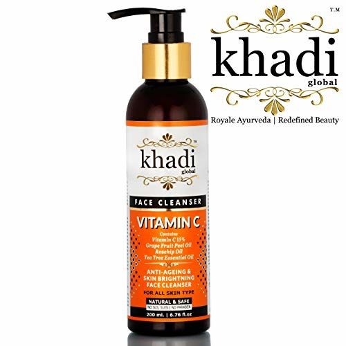 Khadi Global Vitamin C Face Cleanser With Vitamin C 15% + Grape Fruit Peel Oil + Rosehip Oil + Tea Tree Essential Oil + Best Anti Acne Face wash + Best Anti