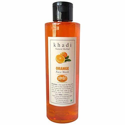 Khadi Herbal Khadi Natural Herbal Orange Facewash, Natural Tan Removal & Skin Lightening Cleansing Face Wash - 200 Ml