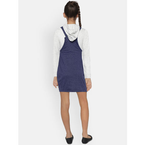 YK Girls Blue Solid Pinafore Dress