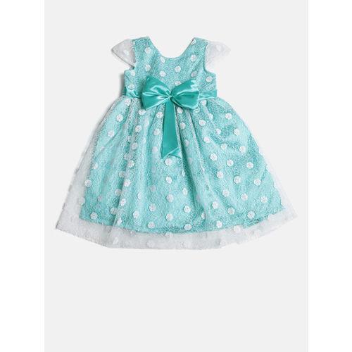 YK Girls Blue Self Design Fit & Flare Dress