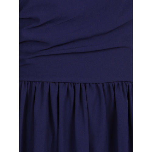 YK Girls Navy Blue Solid Fit and Flare Dress