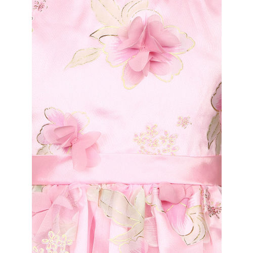 YK Girls Pink Printed Fit and Flare Dress