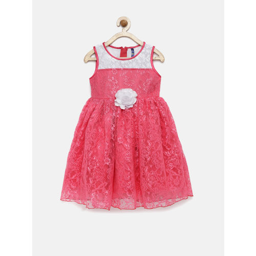 YK Girls Pink & White Semi-Sheer Fit & Flare Dress