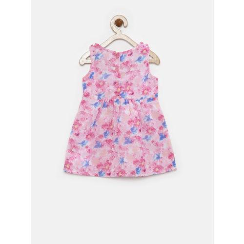 YK Infant Girls Pink Floral Print Fit & Flare Dress