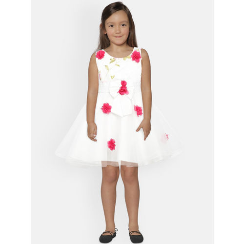 YK Girls White & Pink Printed Fit and Flare Dress