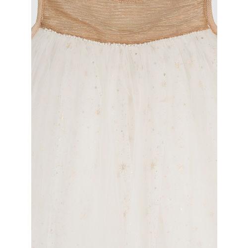YK Girls White Embellished Empire Dress