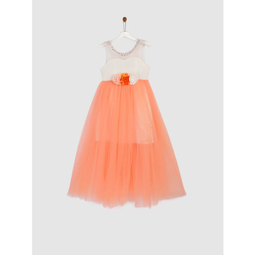 YK Girls White & Coral Embellished Fit and Flare Dress