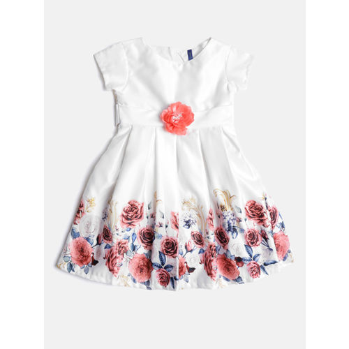 YK Girls Off-White Floral Print Fit & Flare Dress