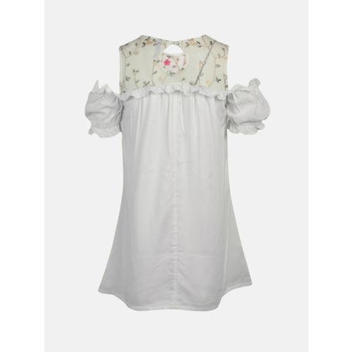 YK Girls White Self Design A-Line Dress