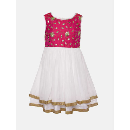 YK Girls White & Pink Embellished Net Fit & Flare Dress