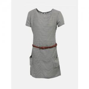 YK Girls Off-White & Black Striped A-Line Dress
