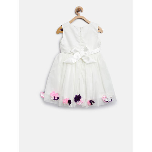 YK Girls White Solid Fit & Flare Dress