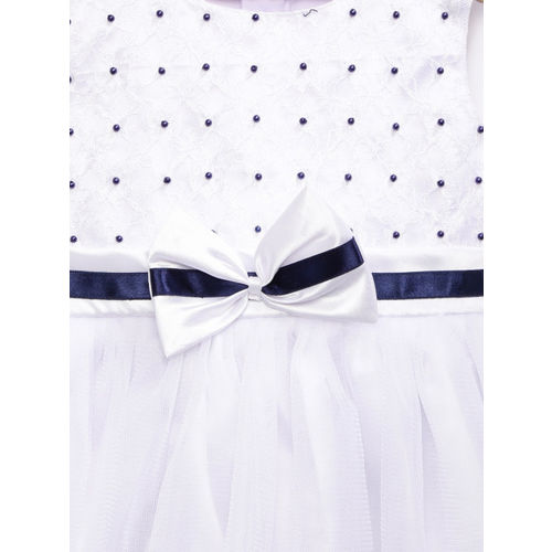 YK Girls White Fit and Flare Dress