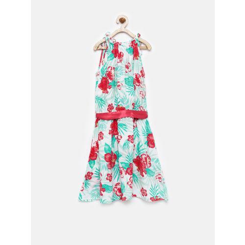 YK Girls White & Green Tropical Print Fit & Flare Dress