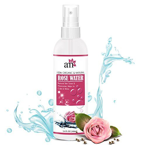 AromaMusk 100% Organic & Natural Premium Rose Water For Face & Skin, 100ml (No Alcohol, Chemical & Paraben Free)