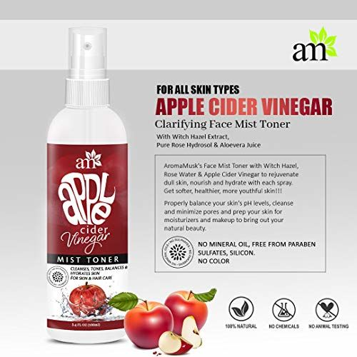 AromaMusk Apple Cider Vinegar Clarifying Face Mist Toner, 100ml - With Witch Hazel Extract, Pure Rose Hydrosol & Aloevera Juice For Face, Hair & Body