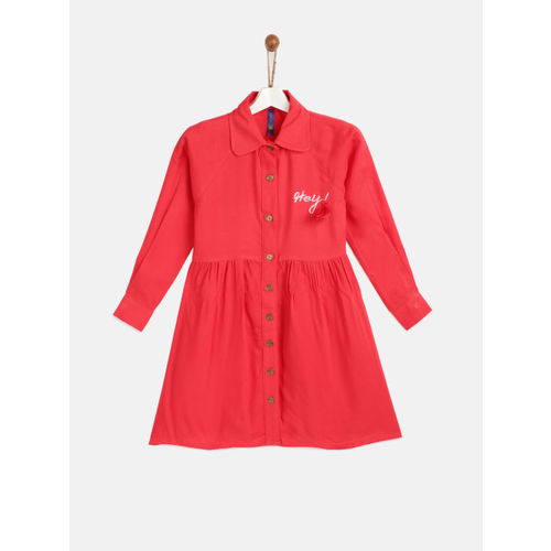 YK Girls Red Solid Shirt Dress