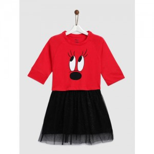 YK Girls Red & Black Printed Fit and Flare Dress