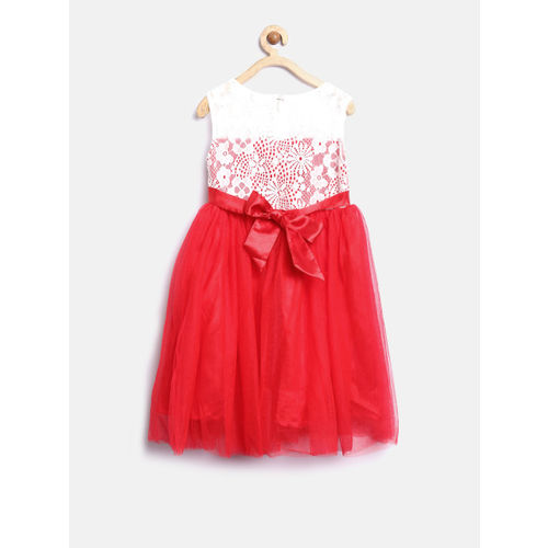 YK Girls Red & Off-White Lace Fit & Flare Dress