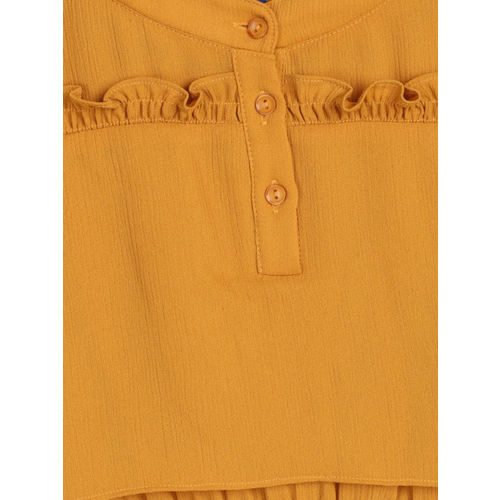 YK Girls Mustard Yellow Solid Fit and Flare Dress