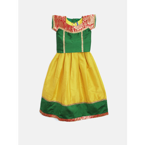YK Girls Yellow & Green Solid Maxi Dress with Ethnic Jacket
