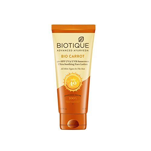 Biotique Bio Carrot 40+ SPF UVA/UVB Sunscreen Ultra Soothing Face Lotion, 50ml