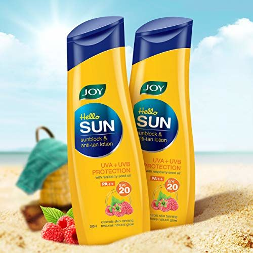 Joy Hello Sun Sublock & Anti-Tan Lotion, SPF 20 PA++, Ideal For Men & Women, For All Skin Type, (Pack of 2 X 300ml)