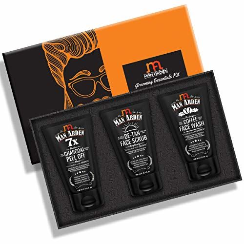 Man Arden Gifts Box For Men - Charcoal Peel Off Mask + De Tan face Scrub + Coffee Face Wash