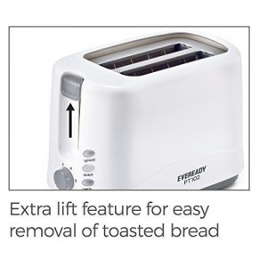 Eveready 750 Watt 2 Slice Pop Up Toster with Defrost, Reheat Function (PT102)
