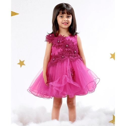 Mark & Mia Party Wear Frock Floral Detail - Dark Pink