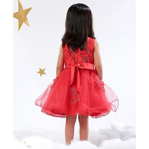 Mark & Mia Sleeveless Party Frock Pearl & Floral Embellishment - Red