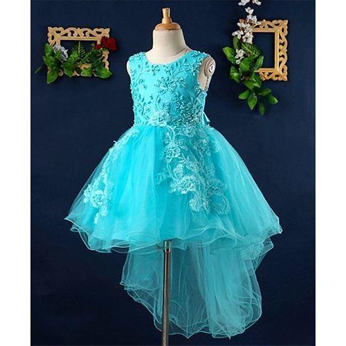Mark & Mia Pearls Embellished High Low Hem Sleeveless Dress - Blue
