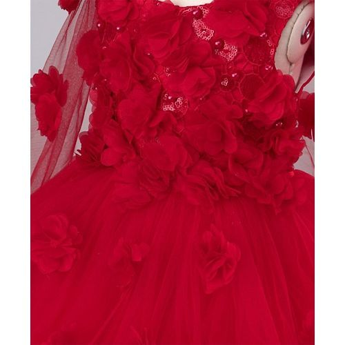 Mark & Mia Flowers & Pearls Embellished Sleeveless Cape Dress - Red