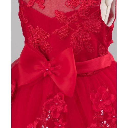 Mark & Mia Flowers & Bow Embellished High Low Hem Sleeveless Dress - Red