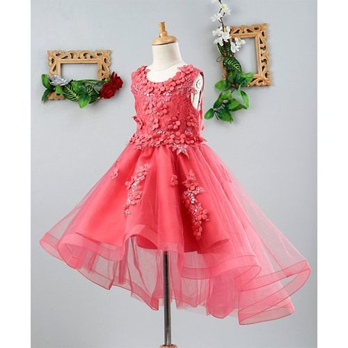 Mark & Mia Flowers Embellished High Low Hem Sleeveless Dress - Pink