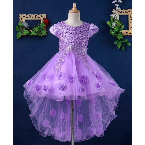 Mark & Mia Cap Sleeves High Low Floral Dress - Purple