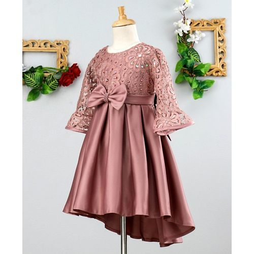 Mark & Mia Sequin & Pearl Work Full Sleeves Dress - Pink